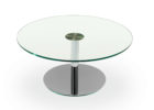 dfs glass coffee table with round shape and metal legs