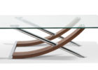 dfs glass coffee table with wood and metal legs design