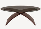 dfs glass coffee table with x wooden legs design