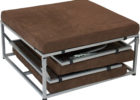fold up coffee table from metal legs and black futton cushions