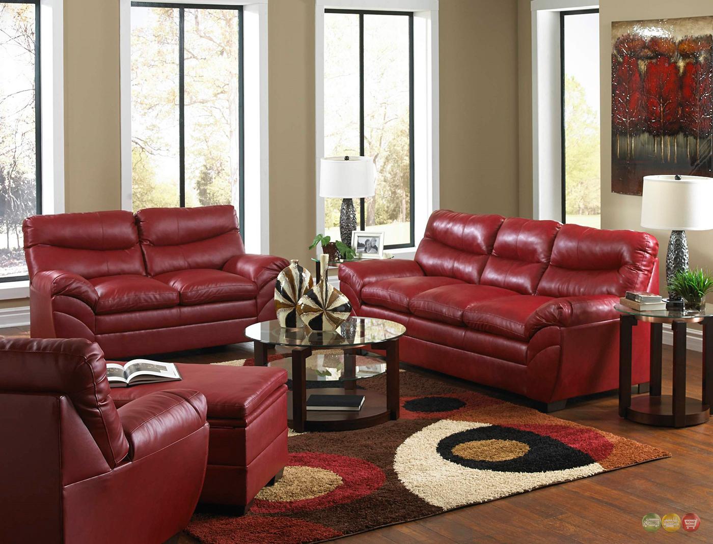formal red leather living room sets