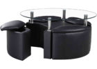 furniture village glass coffee table with black leather seat