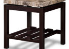 granite on top living room end tables with black solid wood legs design