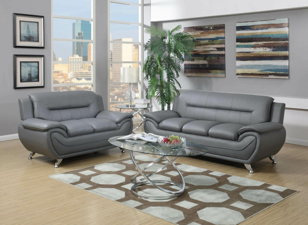 Grey modern leather living room sets raysa house for Modern living room furniture sets