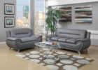 grey modern leather living room sets