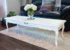 large vintage white shabby chic coffee table