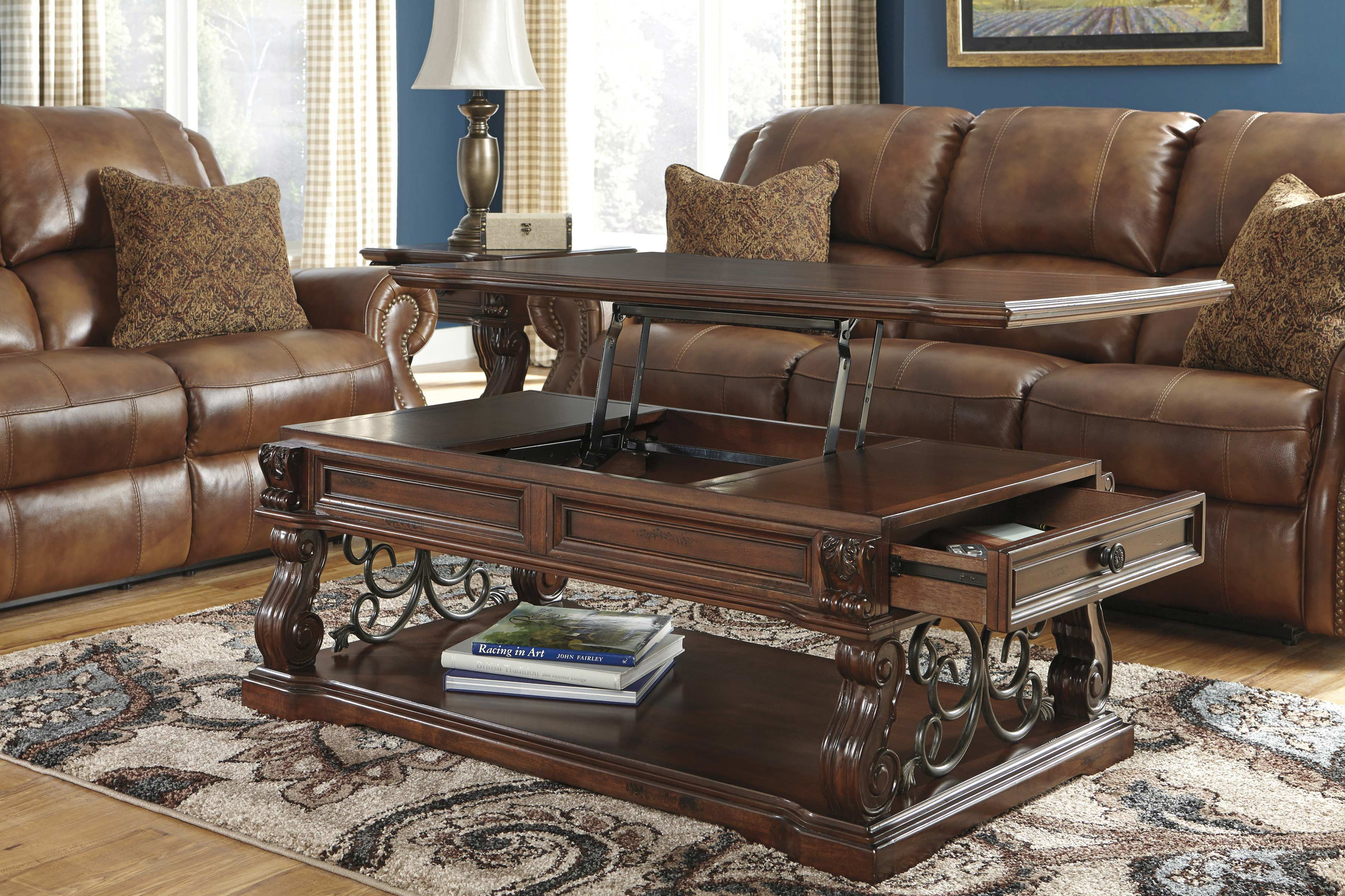 lift top coffee table ashley furniture 02