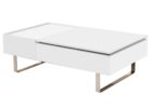low modern white gloss coffee table with storage with metal legs