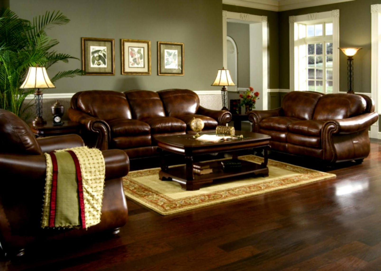 luxury brown leather living room sets