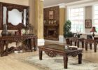 luxury wooden mirrored coffee table set