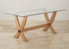 minimalist furniture village glass coffee table with wooden legs