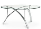 minimalist round furniture village glass coffee table with metal legs