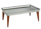 mirrored coffee table tray with wooden legs