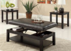 modern black lift top wooden Ikea coffee table Uk with leather black cushions