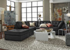 modern black sectional sofa leather living room sets