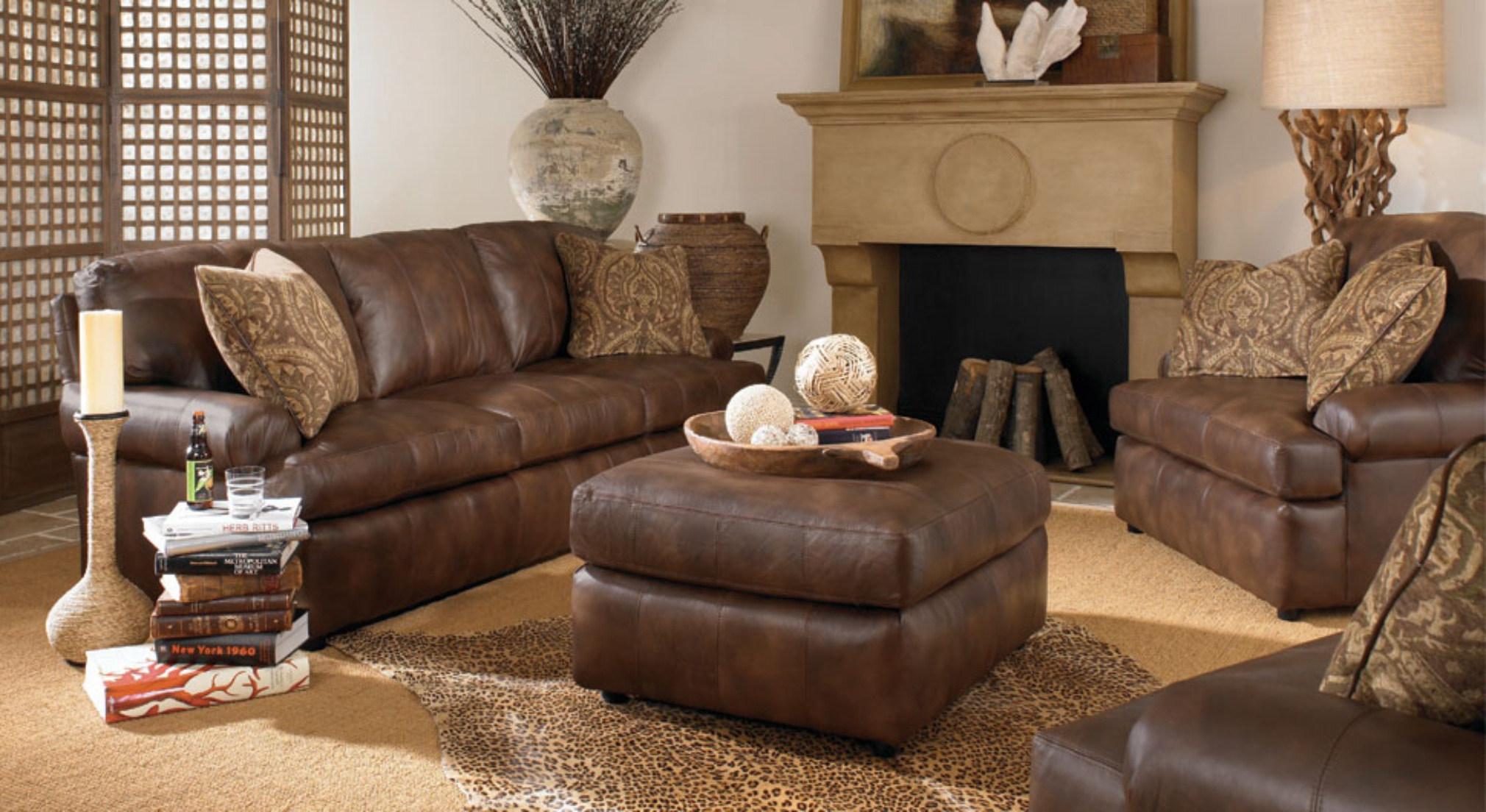 modern brown leather living room sets