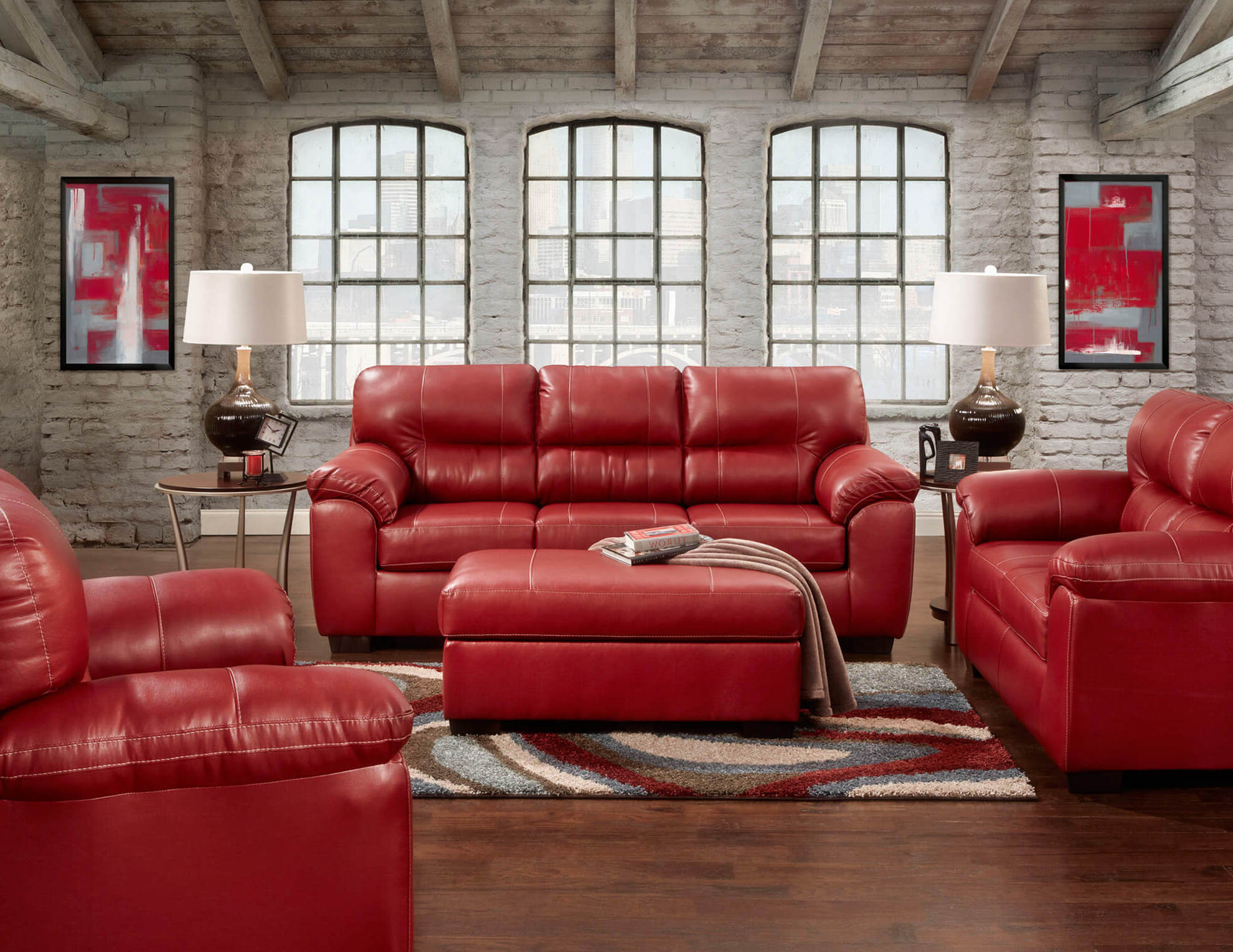 modern red leather living room sets