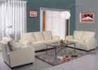 modern white formal leather living room sets