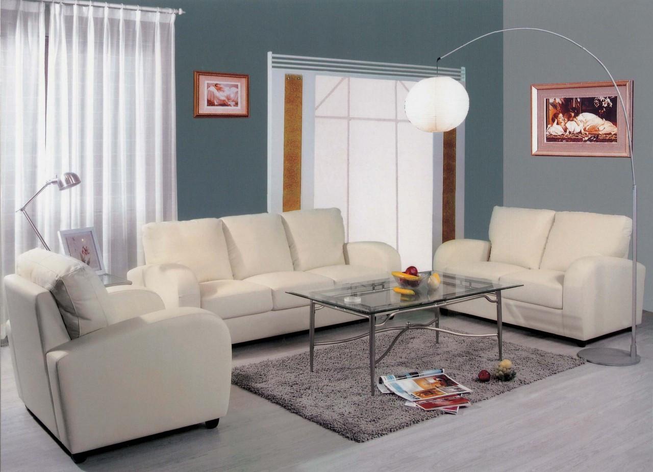 modern white formal leather living room sets