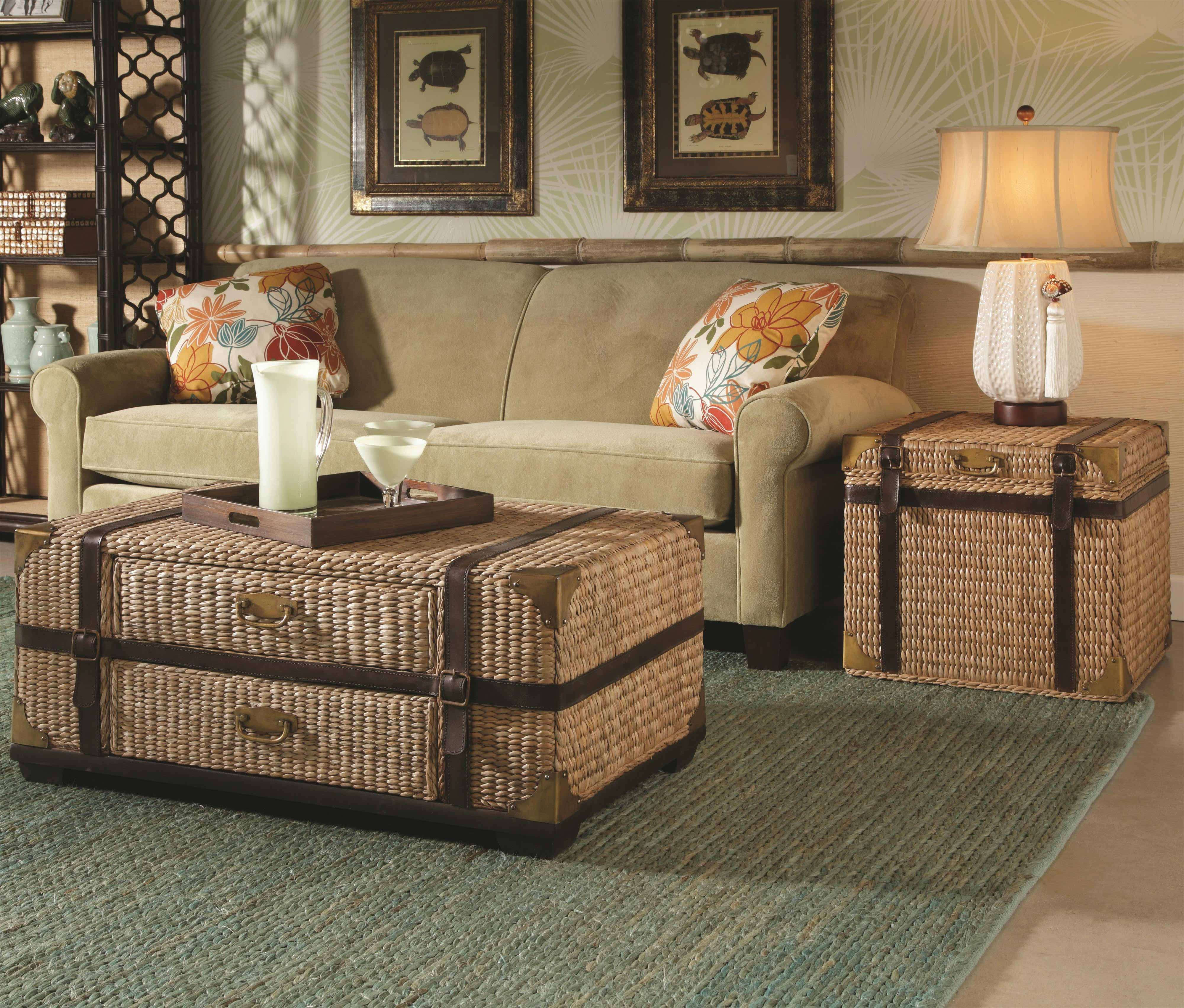 modern wicker living room chest coffee tables