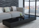 modern wooden dark grey gloss coffee table