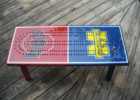 red blue cribbage board coffee table