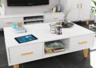 retro white gloss coffee table with storage for small living room spaces
