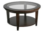 round furniture village glass coffee table with black wooden legs