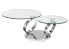 round furniture village glass coffee table with metal legs