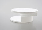 round modern white gloss coffee table with storage