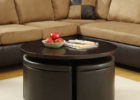 round narrow coffee table with storage and leather ottoman