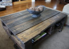 rustic coffee table from pallet reclaimed wood with wheels