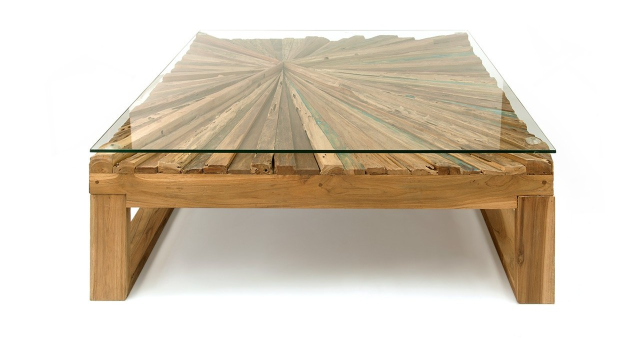 rustic coffee table with glass on top and teak wood