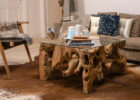 rustic coffee table with glass on top with teak wood