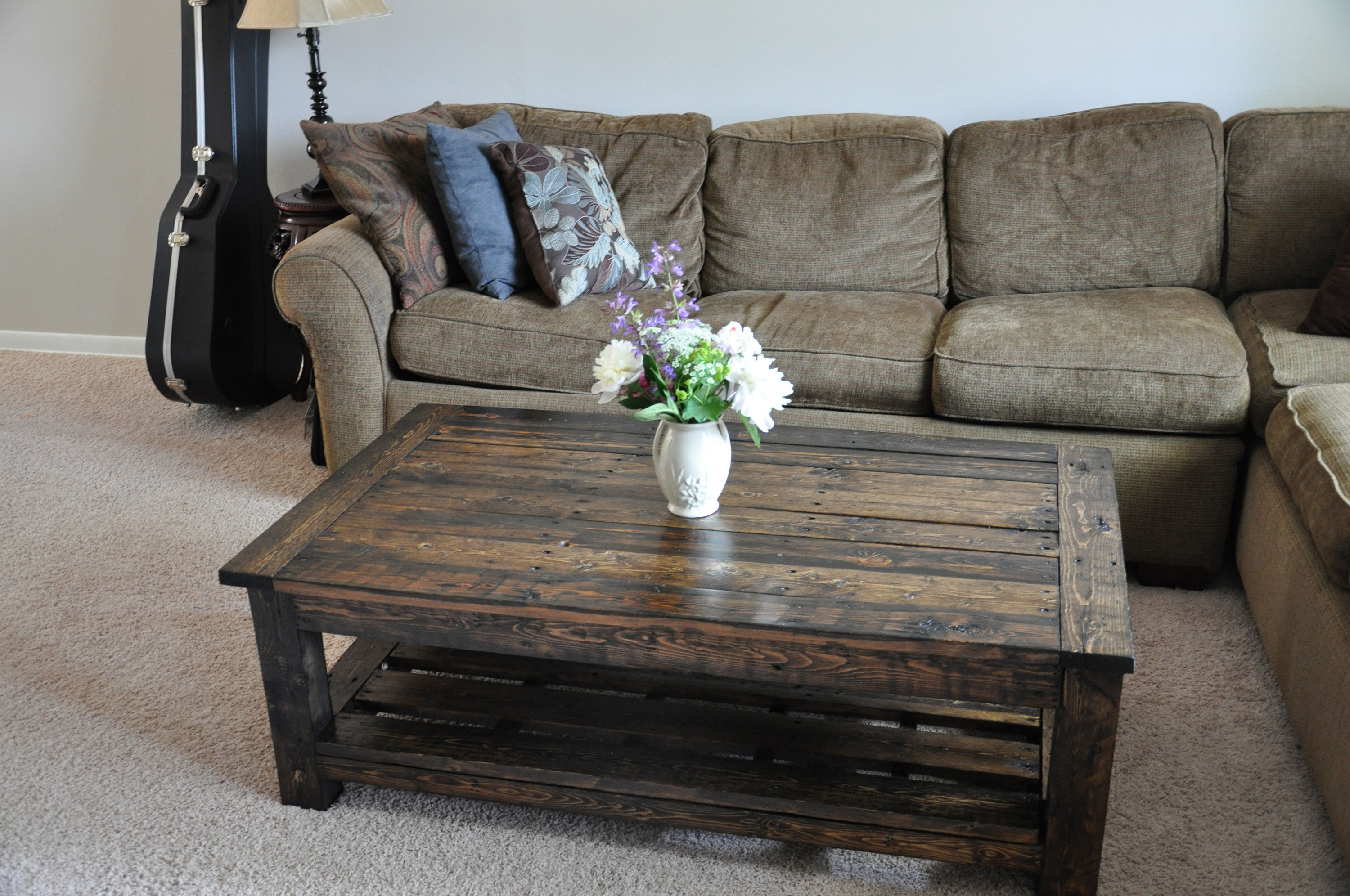 rustic coffee table with handmade pallet wood