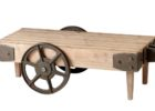 rustic coffee table with large wheels