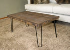 rustic coffee table with metal legs