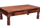 rustic coffee table with two drawers