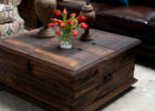 rustic coffee table with waxing finish