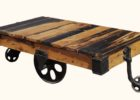 rustic coffee table with wheels from pallet wood