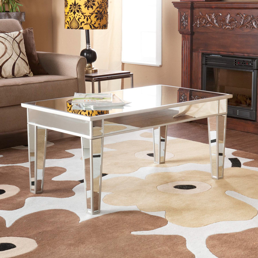 small cheap mirrored coffee table set