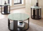 small round furniture village glass coffee table with black wooden legs