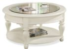 small round shabby chic coffee table with glass on top