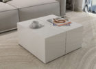 small square white gloss coffee table with storage