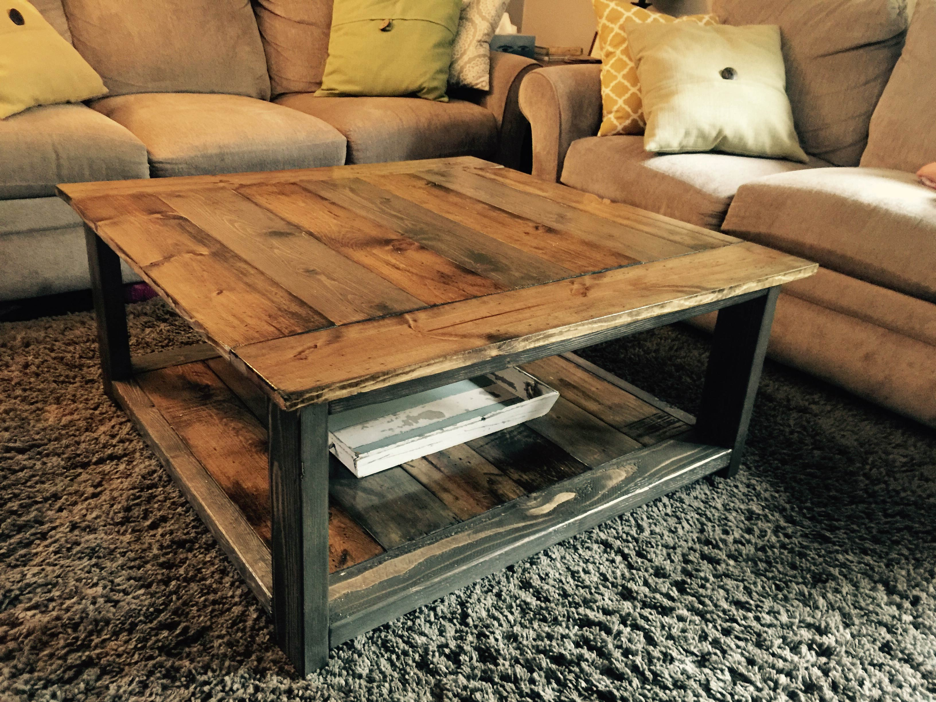 square waxing rustic coffee table