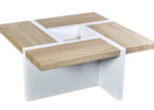 white gloss coffee table Ikea with oak wood on top design