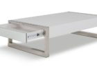white gloss coffee table with storage and metal legs design