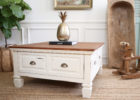 white shabby chic coffee table with storage