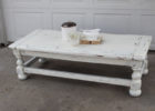 white wooden shabby chic coffee table