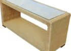 wicker narrow coffee table with storage and glass on top